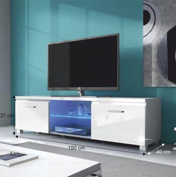 Măsuţă RTV, albă/alb extra luciu ridicat HG, LUGO 3