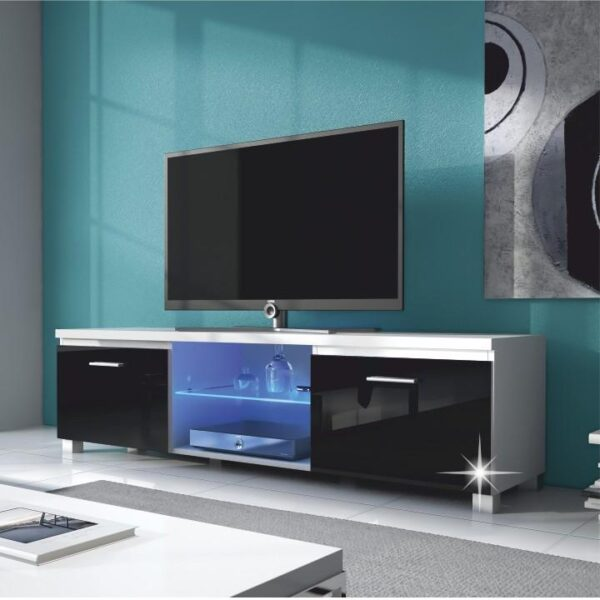 Măsuţă RTV, alb/negru cu luciu extra ridicat HG, LUGO 3
