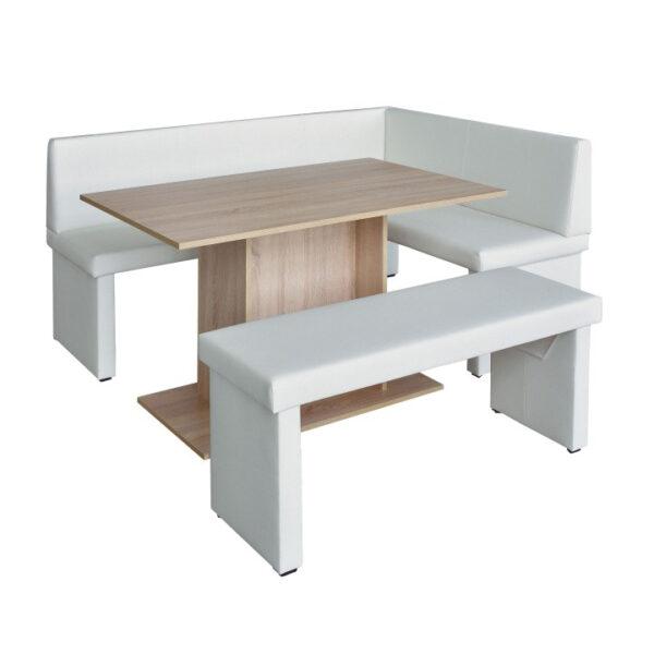 Set dining, alb/stejar sonoma, model dreapta, MODERN
