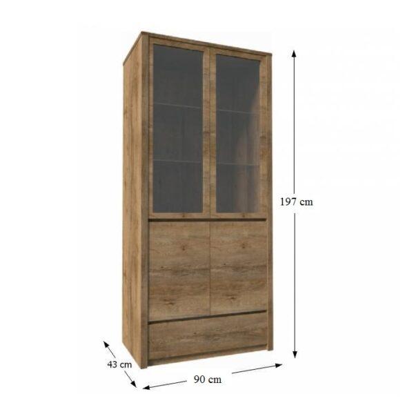 Vitrină cu un sertar şi uşi împărţite ? pline şi cu sticlă, stejar lefkas, MONTANA W2D