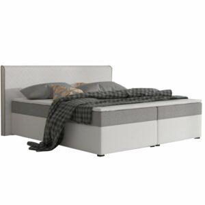 Pat confortabil, textil gri/piele ecologică albă, 180x200, NOVARA MEGAKOMFORT