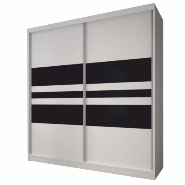 Dulap cu uşi glisante, alb/sticlă neagră, 233x218, MULTI 11
