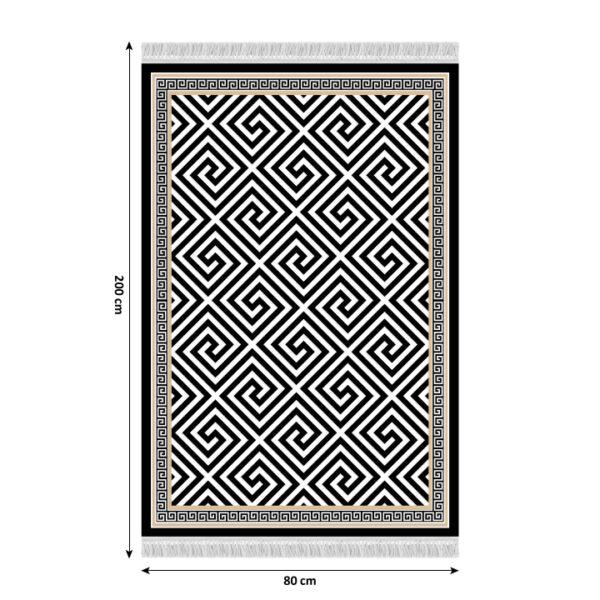 Covor Motive, model negru-alb, 80x200