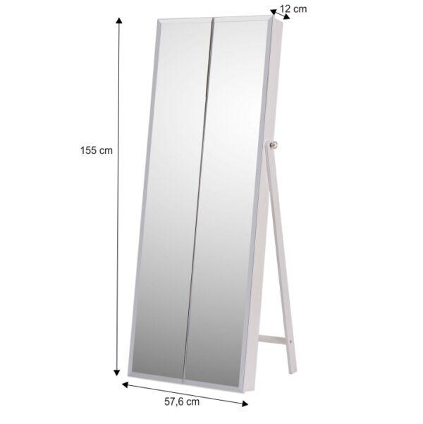 Oglindă cu spaţiu pt. stocare pt. bijuterii, alb, ONEON