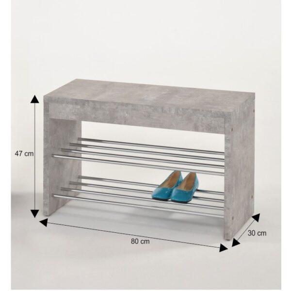 Laviţă cu dulap pt. încălţâminte, beton/crom, LUSIA