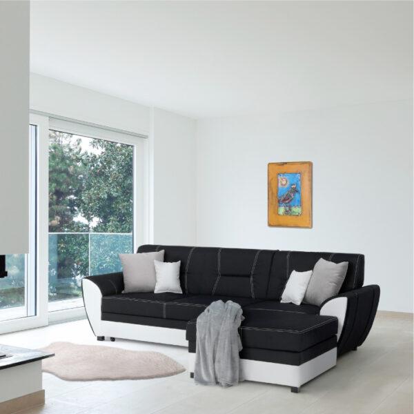 Colţar, piele ecologică albă/material textil negru, model dreapta, MARUTI