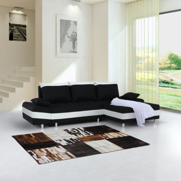 Colţar, material textil negru/alb, dreapta, PUNTOS