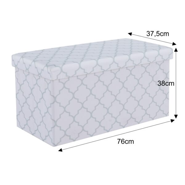 Taburet, material textil alb/gri, KABALA