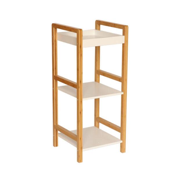 Etajeră, bambus lăcuit/alb, NIMES