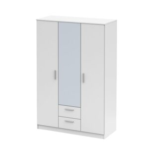 Dulap 3 uşi cu oglindă, alb, NOKO-SINGA 82