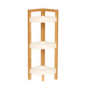 Etajeră corner, alb/bambus natural, FONG