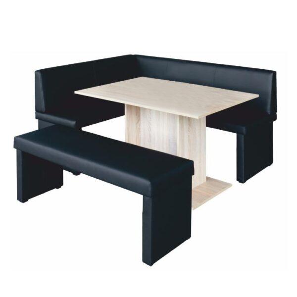 Set dining, negru/stejar sonoma, model stânga, MODERN