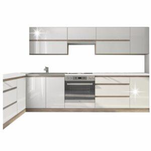 Ansamblu sectorial de bucătărie, alb extra lucios HG/stejar sonoma, LINE