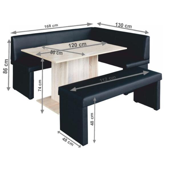 Set dining, negru/stejar sonoma, model dreapta, MODERN