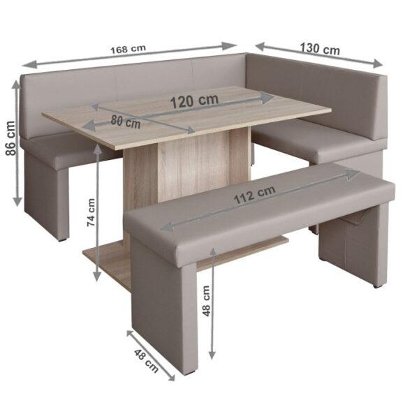 Set dining, cappuccino/stejar sonoma, model dreapta, MODERN