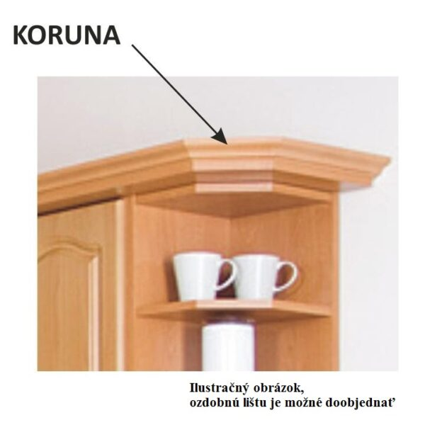 Cabinet de bucătărie, superior, stânga, anin,LORA MDF NEW KLASIK W30/735