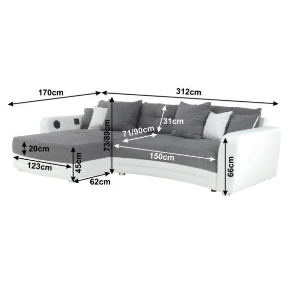 Colţar cu accesorii electronice, eco albă /textil gri , LUXLAREDO