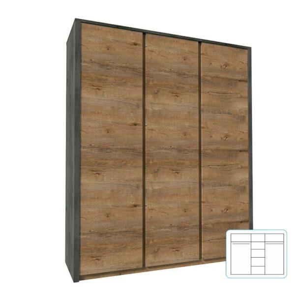 Dulap cu trei uşi, stejar lefkas închis/smooth gri, MONTANA S3D
