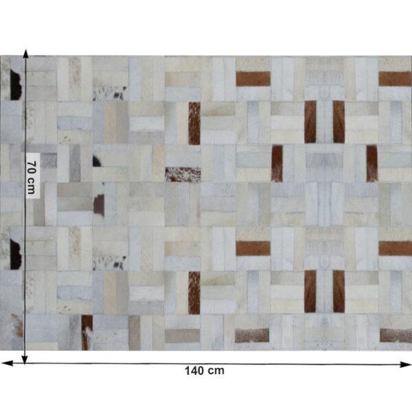 Covor de lux din piele, alb/gri/maro, patchwork, 70x140, PIELE DE VITĂ TIP 1