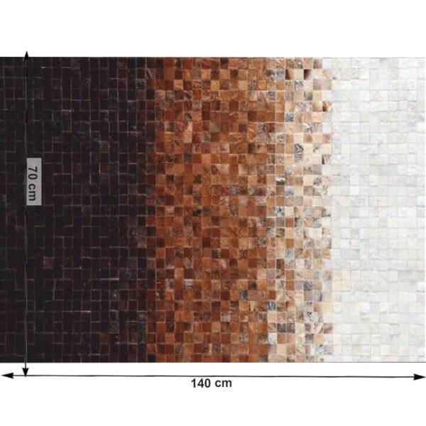 Covor de lux din piele, alb/maro/negru, patchwork, 70x140, PIELE DE VITĂ TYP 7