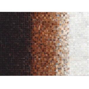 Covor de lux din piele, alb/maro/negru, patchwork, 170x240, KOŽA TYP 7