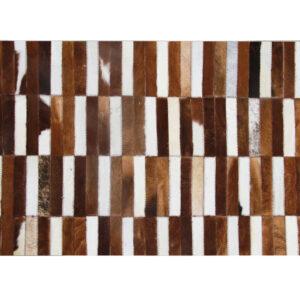 Covor de lux din piele, maro/alb, patchwork, 171x240, PIELE DE VITĂ TIP 5