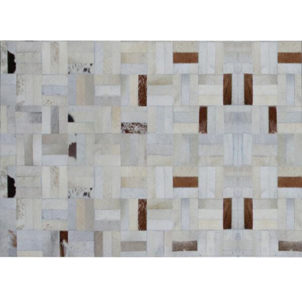 Covor de lux din piele, alb/gri/maro, patchwork, 120x180, PIELE DE VITĂ TIP 1