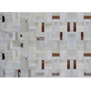 Covor de lux din piele, alb/gri/maro, patchwork, 140x200, PIELE DE VITĂ TIP 1