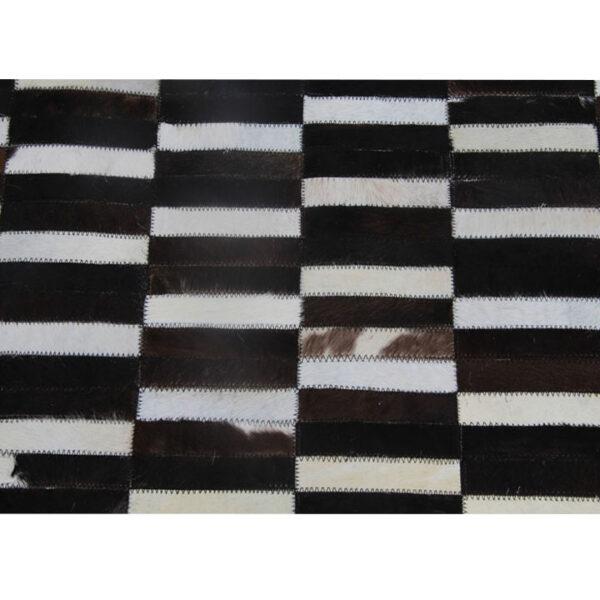 Covor de lux din piele, maro/negru/alb, patchwork, 120x180, PIELE DE VITĂ TIP 6
