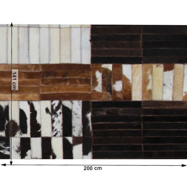 Covor de lux din piele, negru/maro/alb, patchwork, 141x200, PIELE DE VITĂ TIP 4