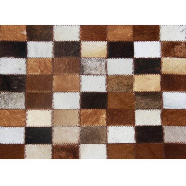 Covor de lux din piele, maro/negru/alb, patchwork, 120x184, PIELE DE VITĂ TIP 3