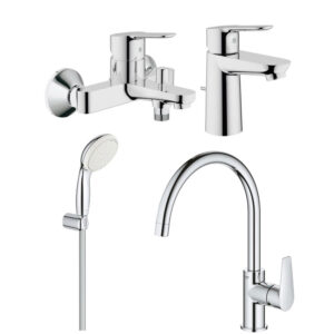 Set baterii baie si bucatarie Grohe Bauedge porter (23328000,23334000,27799001,31367001)