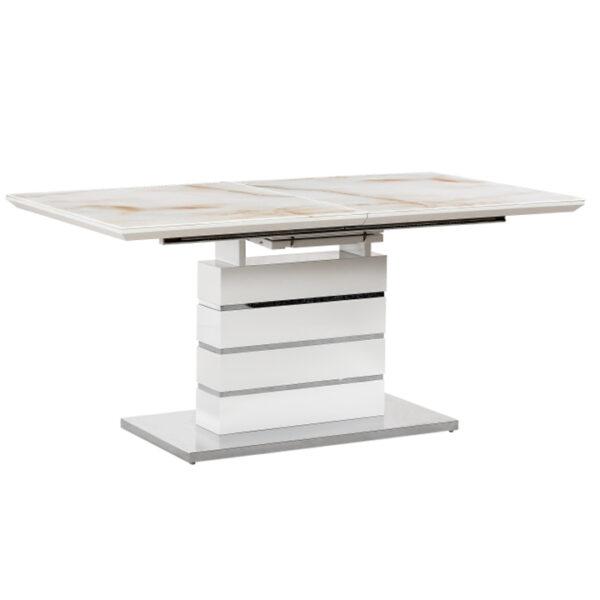 Masă dining extensibilă, model marmură/alb extra lucios HG, LAJOS