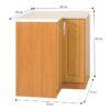 Cabinet de bucătărie, inferior, dreapta, anin, LORA MDF NEW KLASIK S90/90