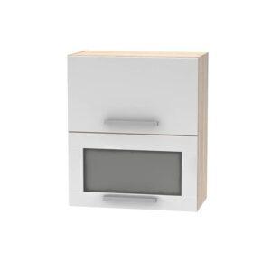 Cabinet superior batant cu sticlă 2DV, stejar sonoma/alb, NOVA PLUS NOPL-009-OH