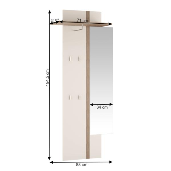 Cuier panel cu oglindă, alb, LYNATET TYP 115