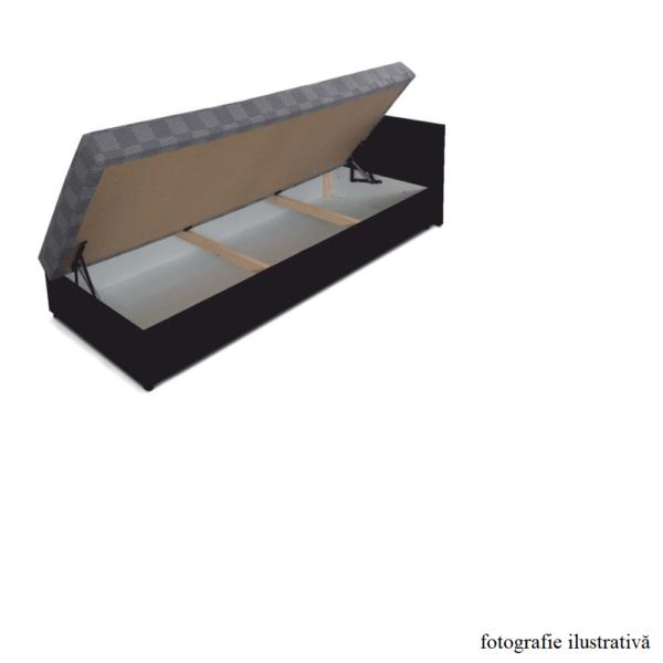 Pat cu spaţiu pt. depozitare, versiune de stânga, piele eco maro+material cu imprimeu, JUDIT