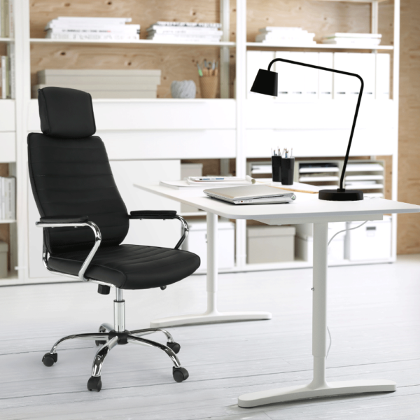Scaun de birou, piele eco neagră, IZIDOR NEW