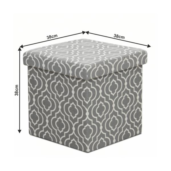 Taburet pliabil, material gri/model alb, MARLO