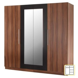 Dulap 4 uşi, oglindă, nuc/negru, MARTINA