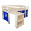 Pat înălţat cu masă PC, lemn de pin/albastru, ALZENA