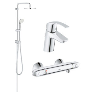 Pachet coloana dus Grohe New Tempesta 200, crom, montare pe perete, baterie termostat Grohtherm 1000 New, plus baterie lavoar Grohe Eurosmart S (2738
