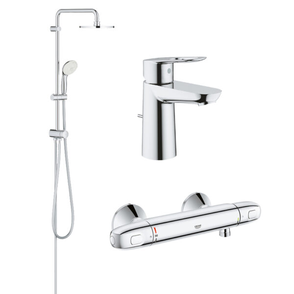Pachet coloana dus Grohe New Tempesta 200, crom, baterie dus termostat Grohtherm 1000 New, baterie lavoar Grohe Bauloop S (27389002, 34143003, 2333500