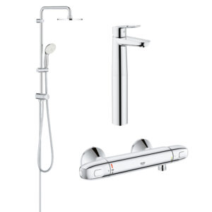 Pachet coloana dus Grohe New Tempesta 200, crom, montare pe perete, baterie termostat Grohtherm 1000 New, baterie lavoar montare pe blat Grohe Bauloop