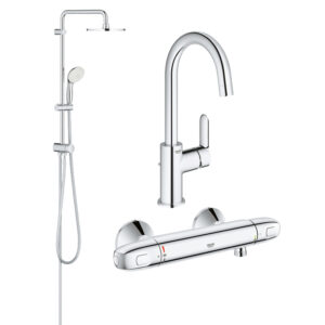 Pachet coloana dus Grohe New Tempesta 200, crom, montare pe perete, baterie cabina dus termostat Grohtherm 1000 New, baterie lavoar Grohe BauEdge, mar