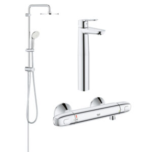 Pachet coloana dus Grohe New Tempesta 200, crom, montare pe perete, plus baterie termostat Grohtherm 1000 New, plus baterie lavoar blat Grohe BauEdge,
