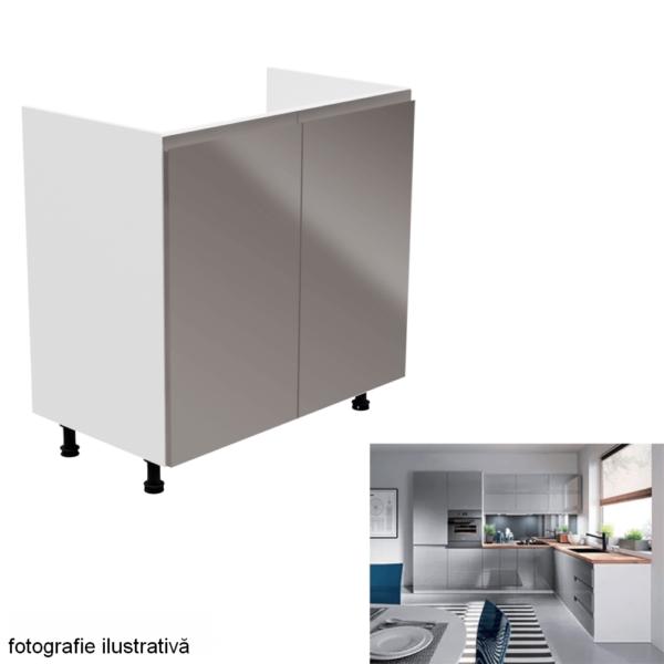 Dulap pentru chiuvetă, alb/gri extra lucios, AURORA D80Z
