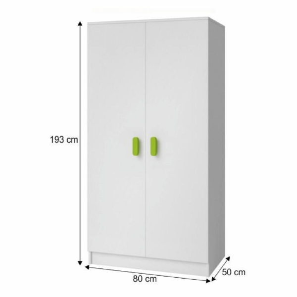 Dulap şifonier 2D cu rafturi, PAL melaminat + ABS colţuri, fără mânere, alb, SVEND