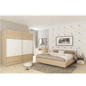 Ansamblu dormitor (pat 180x200 cm), stejar sonoma/alb, GABRIELA