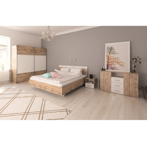 Set dormitor (Pat 180x200 cm), stejar wotan/alb, GABRIELA